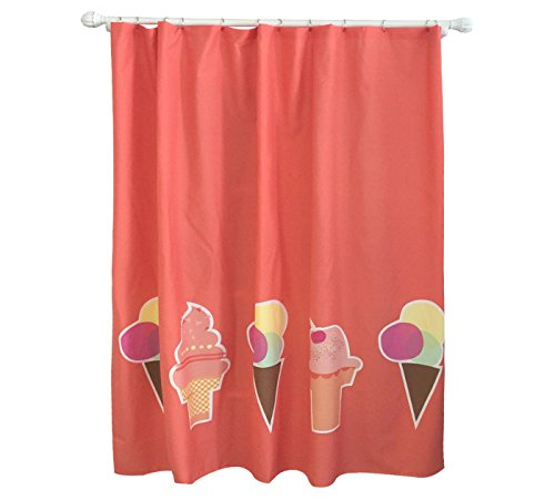 Pillowfort Frozen Fantasy Ice Cream Cone Fabric Shower Curtain, Brick Red (Ice Cream Shower Curtain Brick Red Pillowfort)