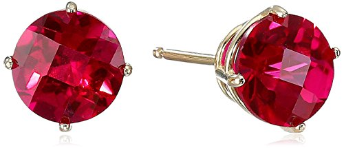 10k Yellow Gold Round Checkerboard Cut Created Ruby Stud Earrings (6mm)