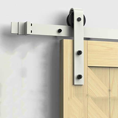 Herraje para Puerta Corredera Kit Kit de hardware de riel de puerta corrediza blanca de 150-400 cm, baño, cocina, empujar y tirar, riel de puerta, polea, riel colgante (Size : 250cm