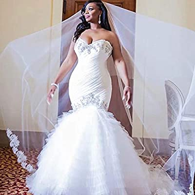 Sweetheart Mermaid Wedding Dresses Ball Gown Strapless Beaded Ruffles Wedding Dresses for Bride 2020 Plus Size at Women's Clothing store