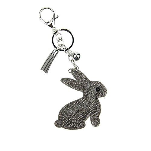 (BAOBAO Lovely Rabbit Crystal Rhinestone Leather Tassel Pendant Keychain Car Bag Keyring)
