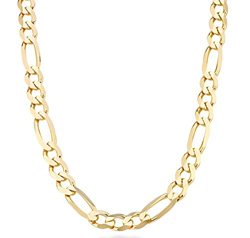 MiaBella 18K Gold Over Sterling Silver Italian 11mm Solid Diamond-Cut Figaro Link Chain Necklace for Men, 20