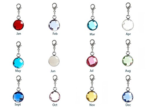 Birthstone Dangle - 1 Set Clip On Birthstone Dangle Charms 8mm Austrian Crystal Beads with Lobster Clasp (12 birthstone charms) #CCP4-SL