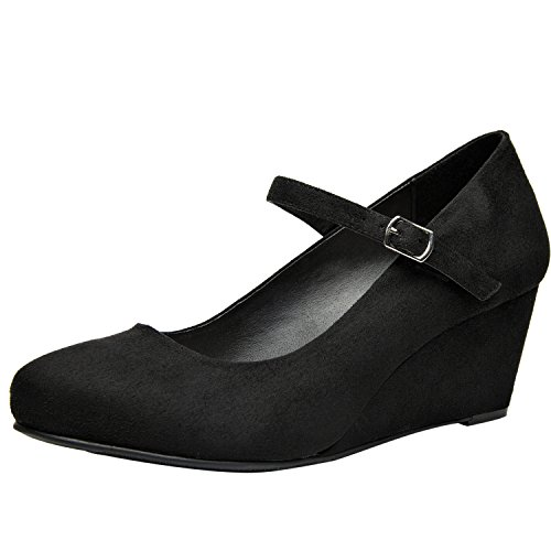 Wide Width Mary Jane Wedge Shoes for Women w/Ankle Buckle Strap, Plus Size Heel Pump w/Round Closed Toe Rubber Sole Memory Foam Insole, Black, Red, Burgundy (Black,Size 8.5)