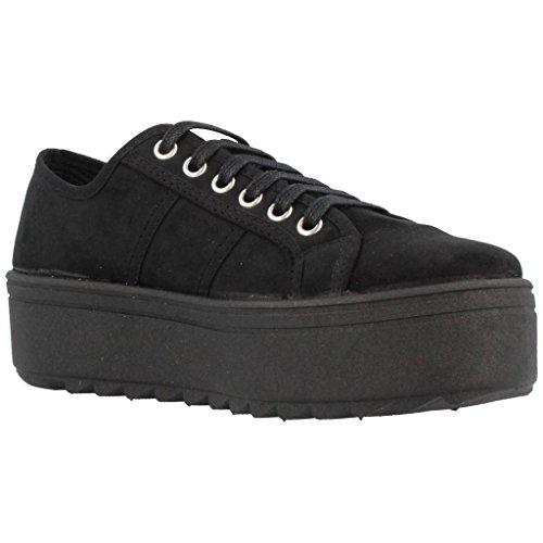 Zapatillas Victoria 09310 - Blucher de Antelina con Plataforma Antracita mujer Negro