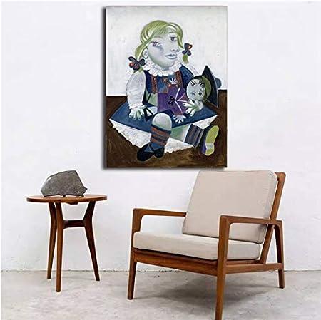 Pablo Picasso Maya con una muñeca Arte de la pared Carteles de la lona Impresiones Pintura al óleo Cuadros de la pared para el dormitorio Marco moderno de la decoración del hogar 40 * 50 cm sin marco