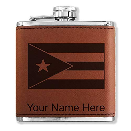 Faux Leather Flask, Flag of Puerto Rico, Personalized Engraving Included (Dark Brown)