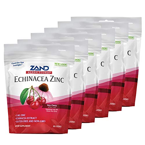 Zand HerbaLozenge Cherry Echinacea Zinc | Throat Lozenges | No Corn Syrup, No Cane Sugar, No Colors | 80 Lozenge, 6 Bags