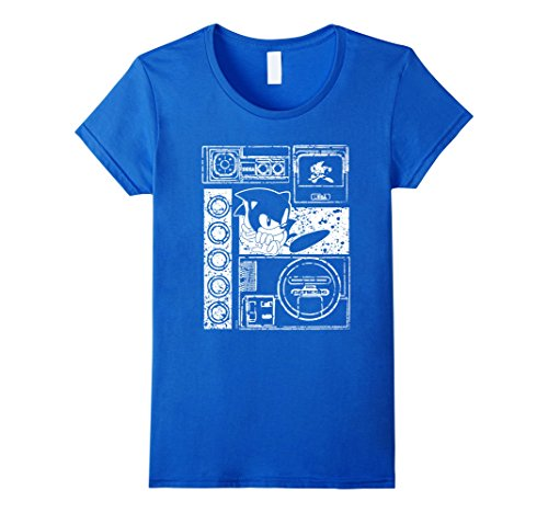 Women's Sonic Game Spirit Tee Small Royal Blue (Female Sonic The Hedgehog)