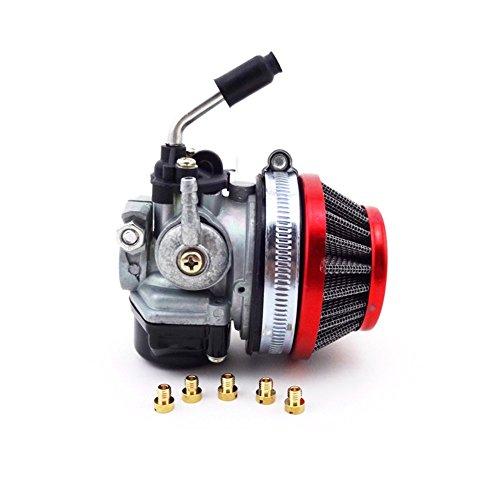 TC-Motor Gas Motorized Bicycle Push Bike Racing Carb Carburetor + Red 58mm Air Filter + Jets For 49cc 50cc 60cc 66cc 80cc 2 Stroke Engine