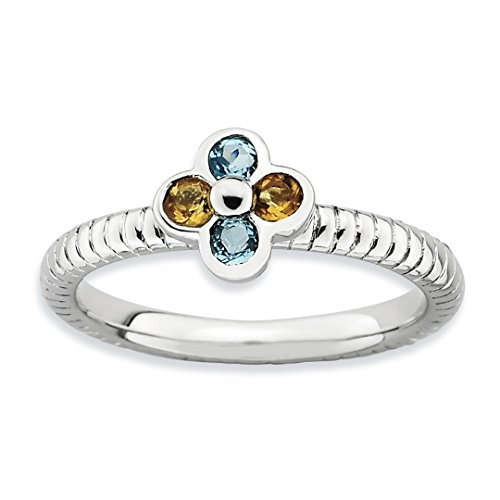 Blue Topaz Yellow Citrine Flower Band Ring Size 6.00 Stone Stackable Gemstone Birthstone November December Fine Jewelry For Women Gift Set ()