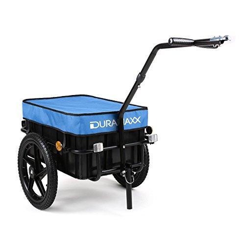 Duramaxx Big Blue Mike Fahrradanhänger mit Kupplung Lastenanhänger Fahrradhänger (70 Liter, Kugel-Kupplung für Fahrräder mit 26'' - 28'', verkehrssicher, Auto-Ventil, inkl. Regenschutz Plane) blau