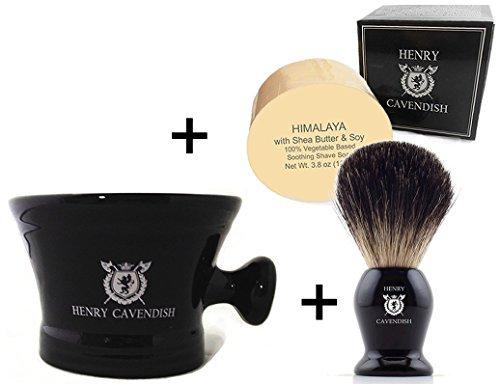 Henry Cavendish Himalaya Shaving Soap, Long Lasting 3.8 oz Puck Refill, plus Ceramic Shaving Soap Bowl, plus Gentleman's 100% Pure Badger Hair Shaving Brush.