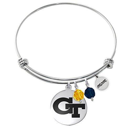 Georgia Tech Yellow Jackets Adjustable MOM Bracelet With Round Charm