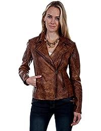 Ladies Quilted Brown Leather Jacket