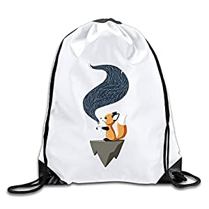 MAIQU Cute Fox Drinking Coffee Gym Sack Bag Drawstring Backpack Sport Bag