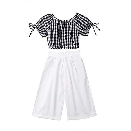 (Summer Clothes Set Toddler Girl Tube Sleeve Plaid Off Shoulder Crop Top+White Wide Leg Pants Outfit Set)