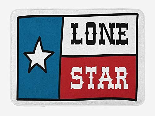 Texas Star Bath Mat, Lone Star Flag United States of America Themed Patriotic Design, Plush Bathroom Decor Mat with Non Slip Backing, 23.6W X 15.7 W Inches, Cobalt Blue Ruby White -
