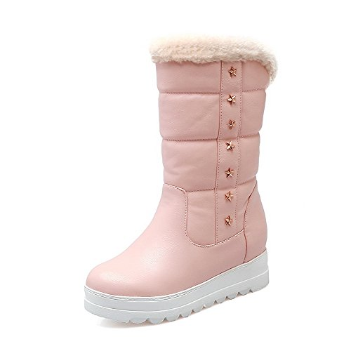 Boots top Heels Pull Kitten Material Pink Women's Round on Toe Soft AgooLar Low Closed HE7q8