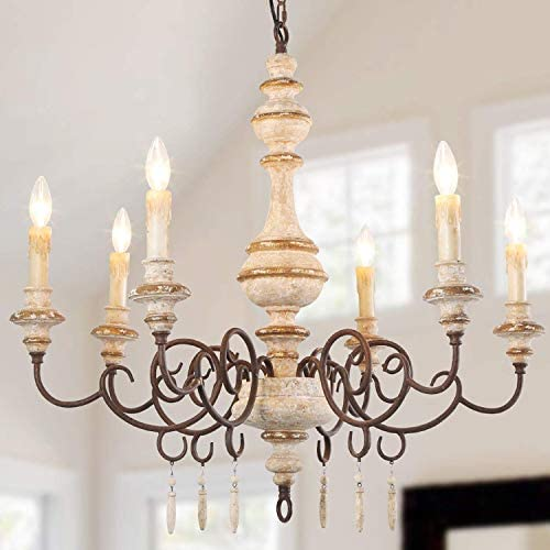 LNC A03371 Farmhouse Wood Chandelier, Handmade French Country Lighting for Living Dining Room, Kitchen, Foyer