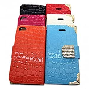 Drill Stone Pattern Wallet PU Leather Case Cover For iPhone 4 4S
