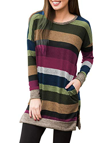 Miskely Women's Long Sleeve Striped Tunic Tops for Leggings Casual Swing Tunic Dress with Pockets Shirt (XX-Large, Multicolor-08 Purple ()