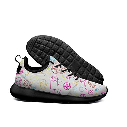 DEEEWKF ice cream cake Multi color donut flowers Womens 2018 Ultra Lighweight skate shoes Fitness
