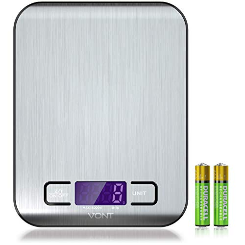 Digital Kitchen Scale/Food Scale - Gorgeous Slim, Compact Design, Multi-functional, Easy to Clean Slick Stainless Steel, Back-Lit LSD Screen, Batteries Included