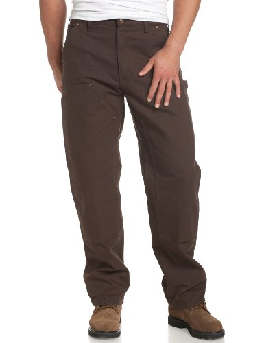 Carhartt Men's Double Front Work Dungaree Washed Duck,Dark Brown,34 x 32