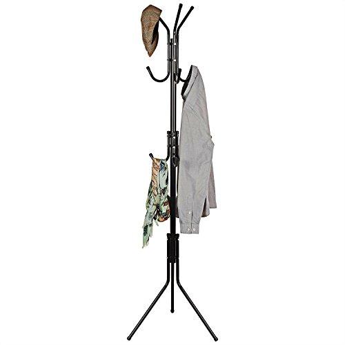 Black Metal Finish Coat Rack (Basics Hardware Metal Coat Rack 9- Hook Hanger, Tree Stand, Metal Finish Stand Hanger)