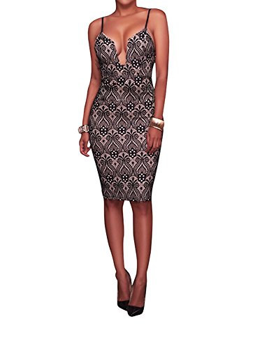 Halter Dress- Women's Sexy V-Neck Slim Halter Bodycon Dress, Knee Length Mini Dress With Size S, M, L And XL, Popular In Club, Party (Large)