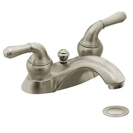 Moen 4551BN Monticello Two-Handle Low Arc Lavatory Faucet with Drain ...