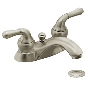Moen 4551bn Monticello Two Handle Low Arc Lavatory Faucet With Drain Assembly Brushed Nickel