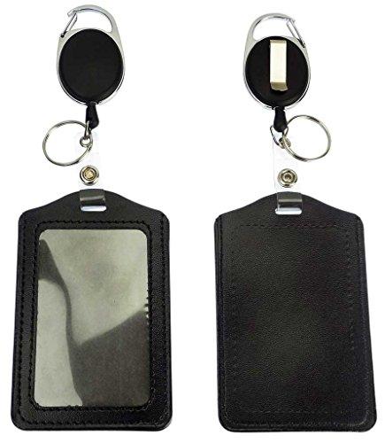 - Badge Holder Reel Clip Retractable Carabiner, Black Leather Name Badge Holder, Pack of 2 Badge Reels Retractable