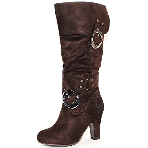 TRENDSup Collection Women's Mid Heel Crossed Buckle Straps Boots (10, - Stud High Knee