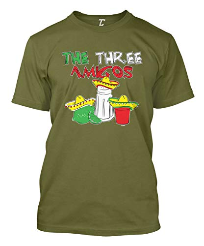 The Three Amigos - Cinco De Mayo Tequila Men's T-Shirt (Olive, Medium)