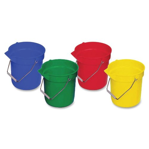 Genuine Joe GJO02346 Utility Buckets, 10 quart, Blue/Red/Yel
