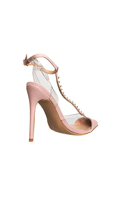ecb57cf3758 Ikrush Womens Tiffany Studded Perspex Court Heels Pink UK 7  Amazon.co.uk  Shoes    Bags