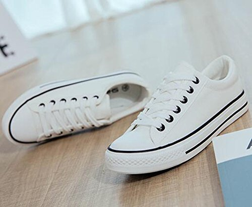 Easemax Womens Fashion Canvas Lace Up Round Toe Low Top Flat Sneakers White gZExcie
