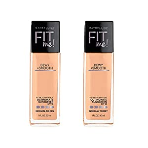 Maybelline New York Fit Me Dewy and Smooth Foundation, Natural Beige, 2 Count