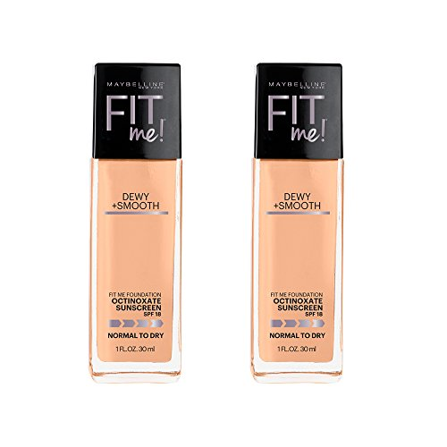 Maybelline Fit Me Dewy + Smooth Foundation, Natural Beige, 2 Count (Packaging May Vary)
