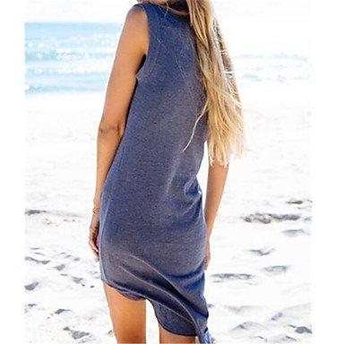 PU&PU Robe Aux femmes Ample Simple,Couleur Pleine Col Arrondi Au dessus du genou Nylon , blue , l