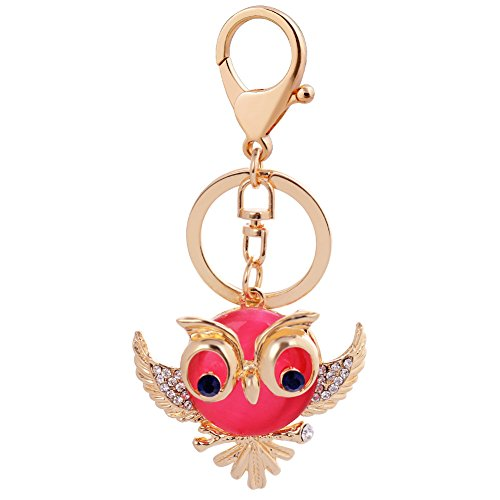 Owl Sparkling Charm Elegant Key Chain for Ladies Bags Keychain,Light red