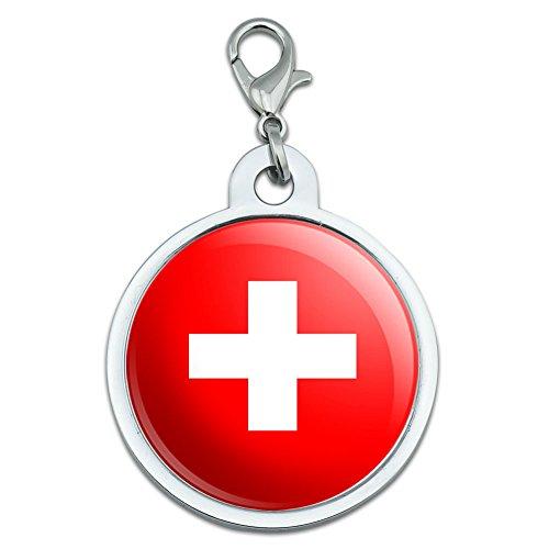 Swiss Tag - Switzerland Swiss Flag Large Chrome Plated Metal Pet Dog Cat ID Tag