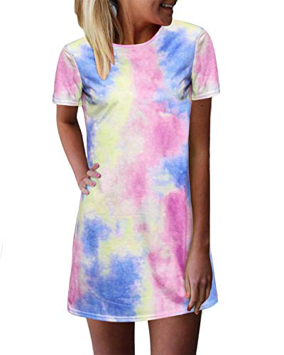 ZANZEA Women's Short Sleeve T Shirt Dress Tie-dye Floral Print Round Neck Mini Dress As Picture2 14 ()