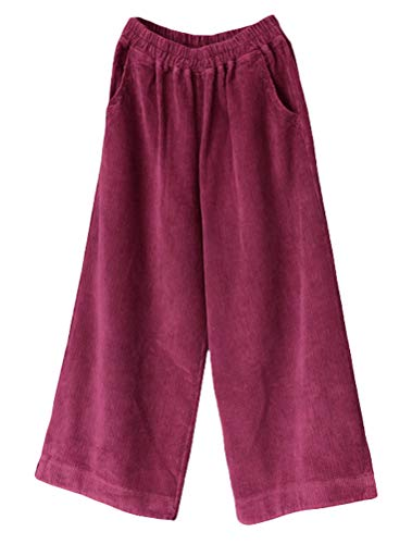 - Minibee Women's Casual Wide Leg Pants Elastic Waist Cotton Cropped Corduroy Trousers with Pockets Purple Red