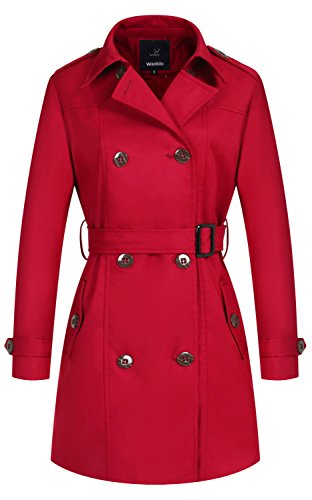 Belted Trench Coat Lightweight - Wantdo Women's Double-Breasted Long Trench Coat with Belt(Red,Medium)