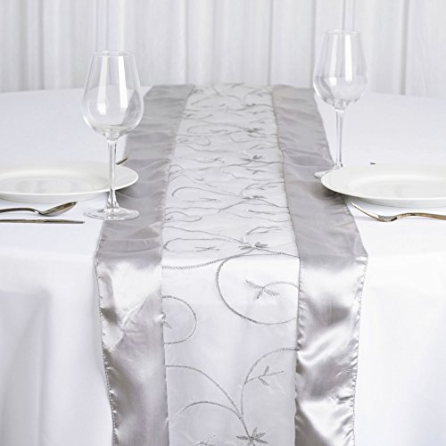 BalsaCircle 14 x 108-Inch Silver Satin Edges and Embroidered Organza Table Top Runner - Wedding Party Reception Linens Decorations]()
