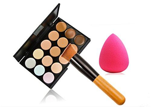 Pure Vie® 1 Stück Make Up Pinsel + 1 Schwamm Puff + 15 Farben Concealer Abdeckcreme Camouflage Palette Cover Abdeck Makeup