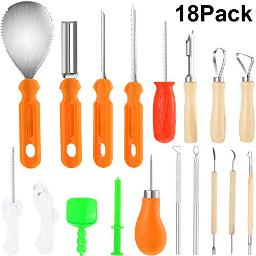 18 Pack Halloween Pumpkin Carving Kit, Includes 8 Pack Stainless Steel Pumpkin Carving Tools, 5 Pack Sturdy Fruit Engrave Tool, 5 Pack Pumpkin Stencil and Carving Set]()